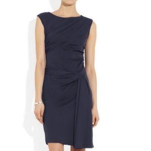 DVF Silk Navy Bec Draped Evening Dress